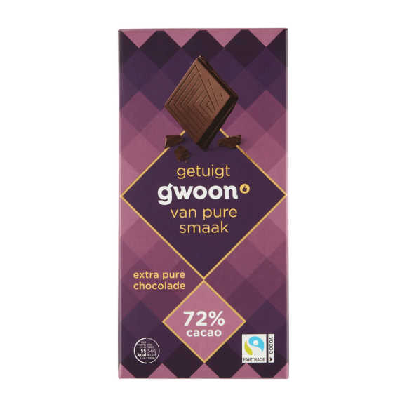 g'woon Chocoladereep puur 72% product photo