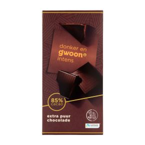 g'woon Chocoladereep extra puur 85% product photo