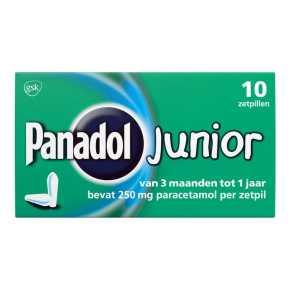 Panadol Junior Zetpillen 250 mg voor Kinderen van 1 tot 6 jaar, 10 stuks product photo
