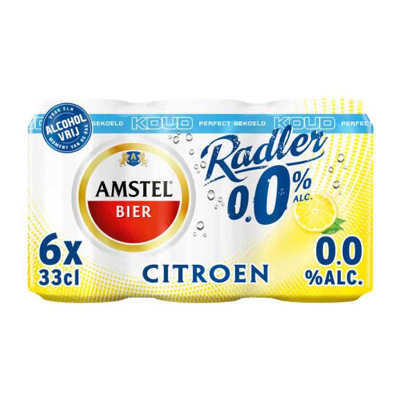 Amstel Radler 0.0 bier citroen Gekoeld blik 6x33cl product photo
