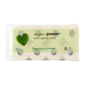 g'woon Toiletpapier recycled 8 rollen 3 laags product photo