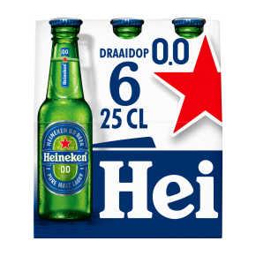 Heineken 0.0 alcoholvrij bier fles 6x25cl product photo