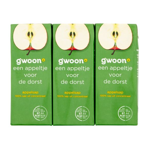 g'woon Appelsap pak 6 x 20 cl product photo