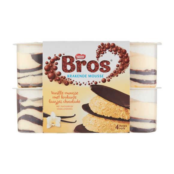 Bros Vanille Mousse met Krokante Laagjes Chocolade 4 x 57 g product photo