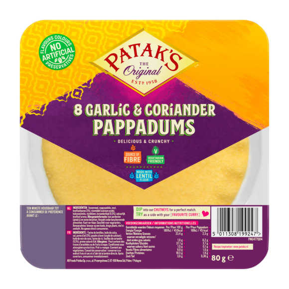 Patak's Pappadums knoflook/koriander product photo