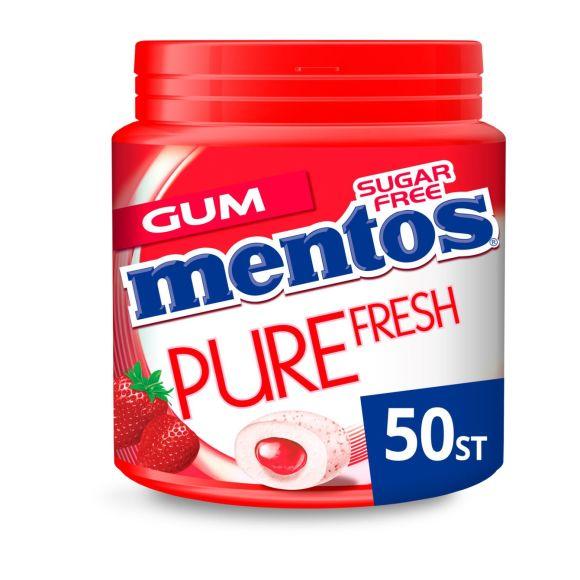 Mentos Gum pure fresh strawberry pot 50 stuks product photo