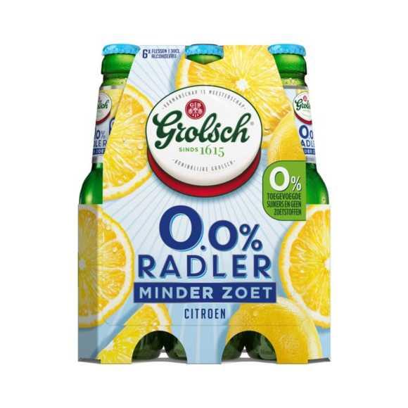 Grolsch 0.0% Radler citroen minder zoet 6-pack fles 30cl product photo