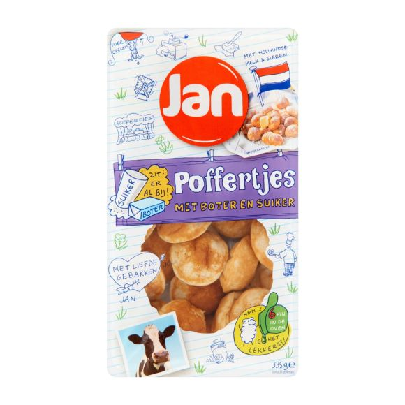 Jan poffertjes met boter en suiker product photo