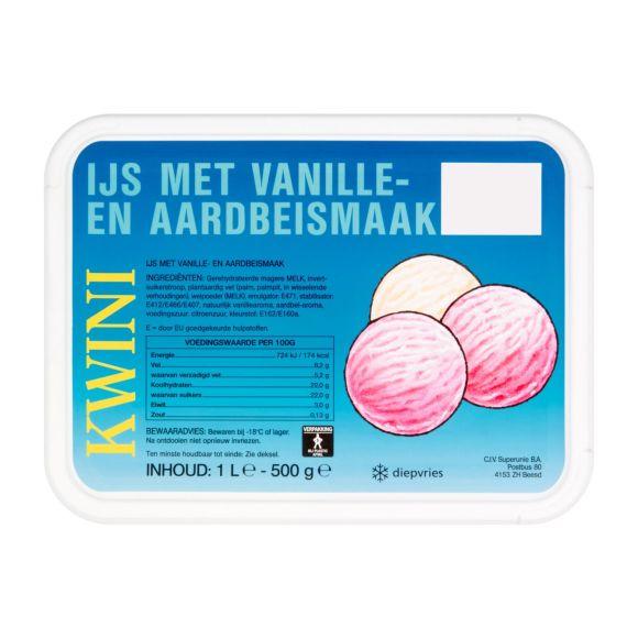 Kwini Vanille aardbei ijs product photo