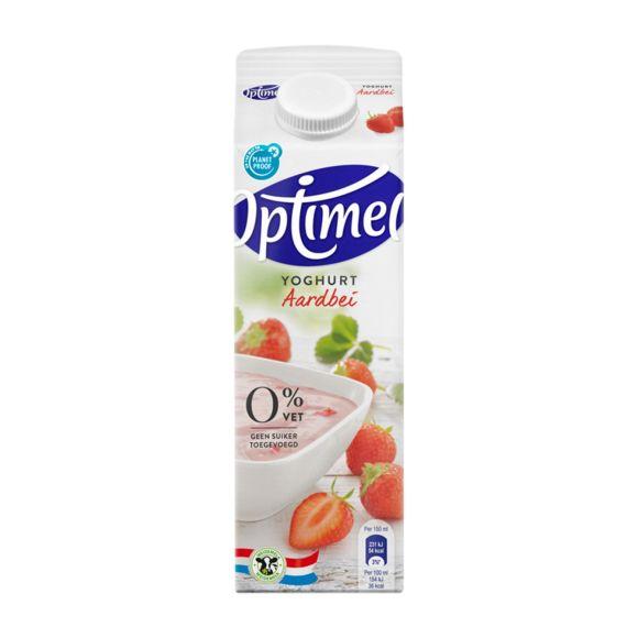 Optimel Yoghurt Aardbei 0% Vet 1000 ml Pak met punt product photo