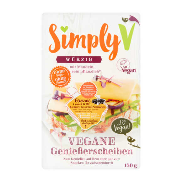 Simply-V Vegan slices pittig kaas plakken product photo