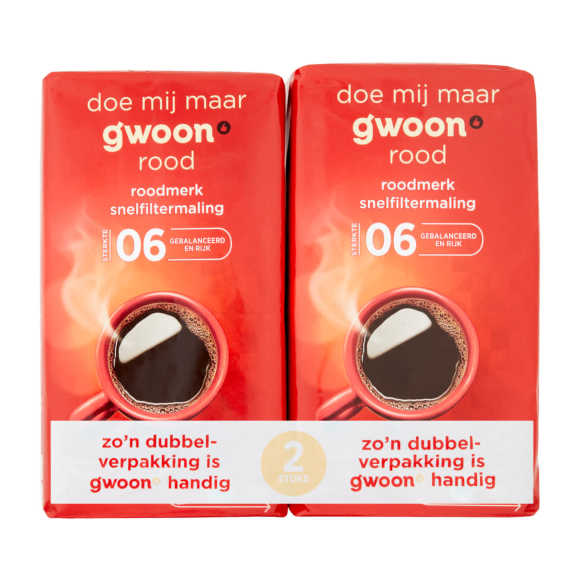 g'woon Filterkoffie rood duopack product photo