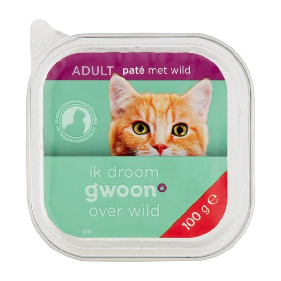 g'woon Pate kat met wild product photo