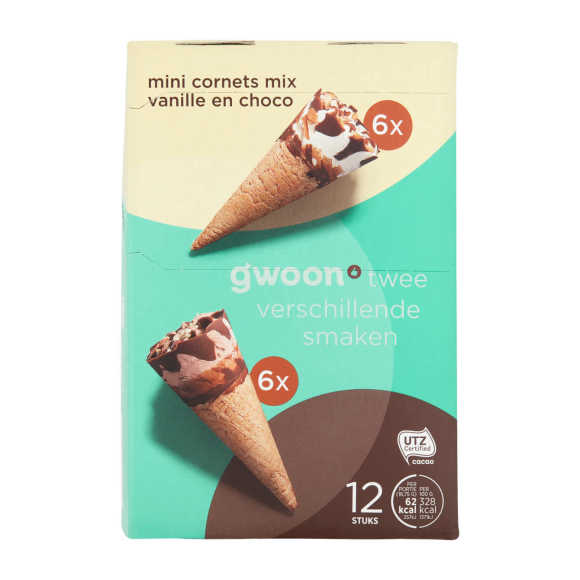 g'woon Mini cornets vanille choco 12 stuks product photo