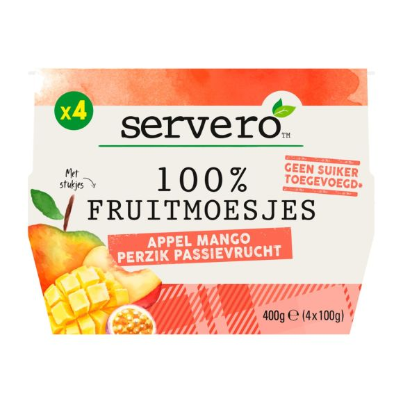 Servero 100% Fruitmoes appel mango 4st product photo