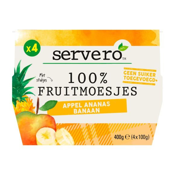Servero 100% Fruitmoes appel ananas 4st product photo