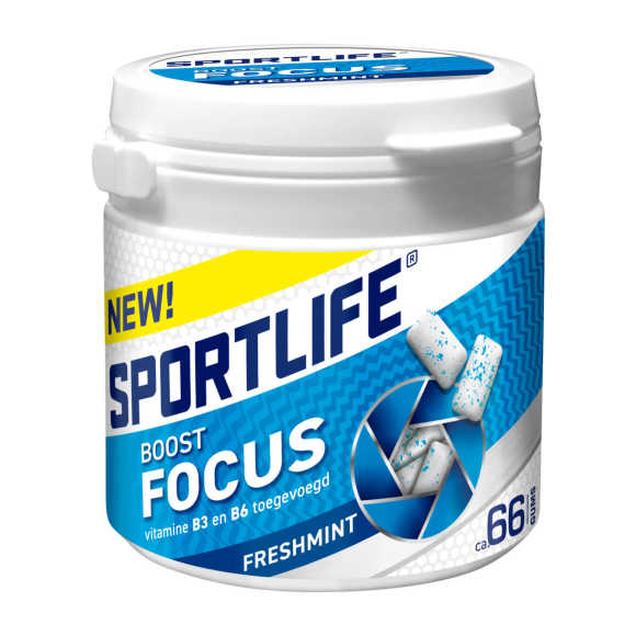 Sportlife Boost focus freshmint pot suikervrije kauwgom product photo