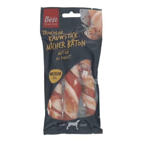 Best for your Friend Triocolor kauwsticks met kip medium, 3 stuks product photo