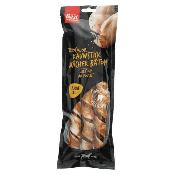 Best for your Friend Triocolor kauwsticks met kip large, 3 stuks product photo