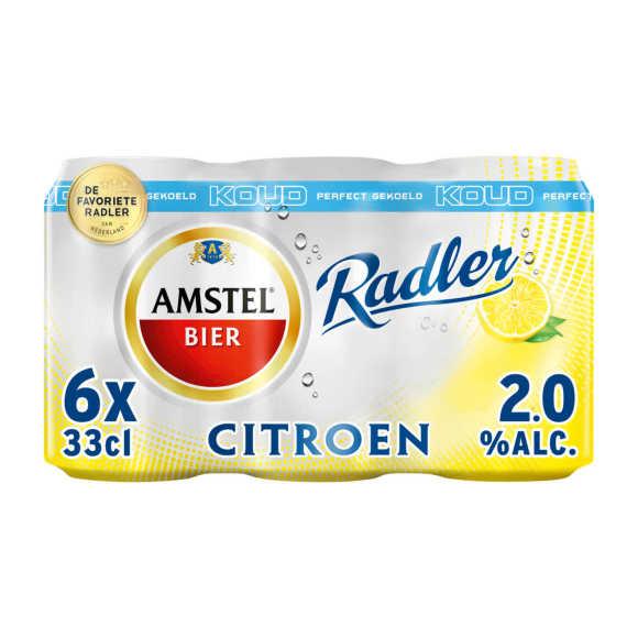 Amstel Radler bier citroen gekoeld blik 6x33cl product photo