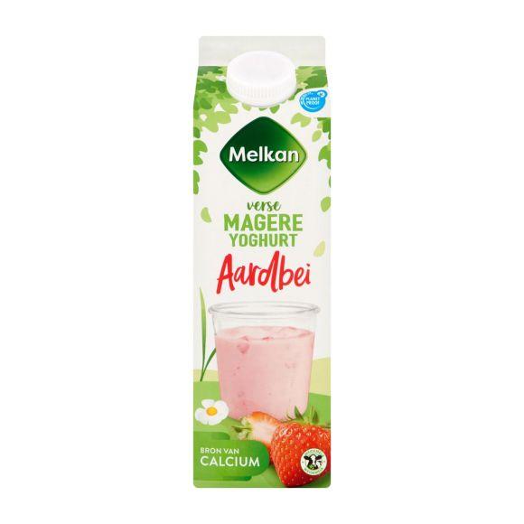 Melkan Vruchtenyoghurt aardbei 0% vet product photo