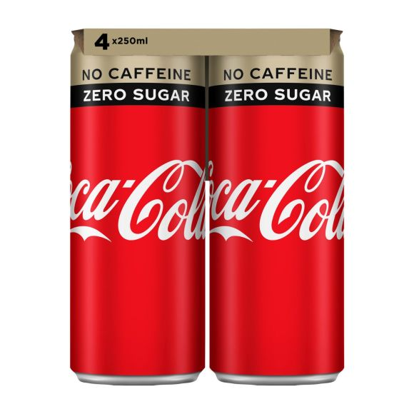 Coca-Cola Zero caffeinevrij blik 4 x 250 ml product photo