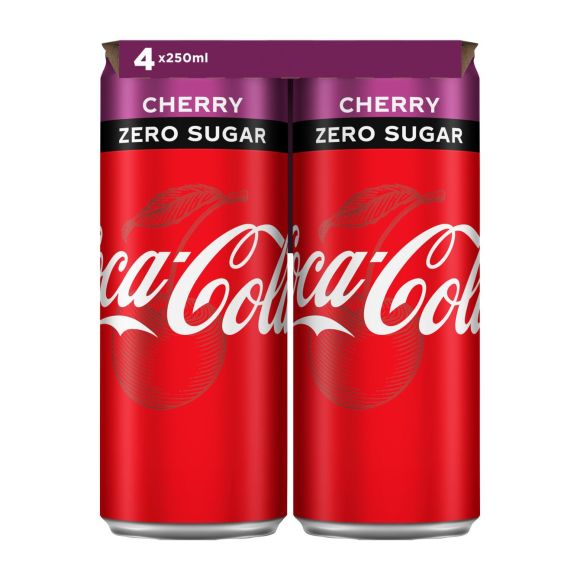 Coca-Cola Zero sugar cherry blik 4 x 250 ml product photo