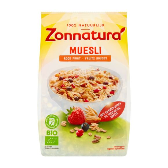 Zonnatura Muesli rood fruit product photo