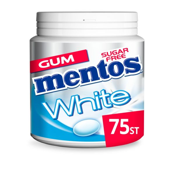 Mentos Gum white sweet mint pot 75 stuks product photo