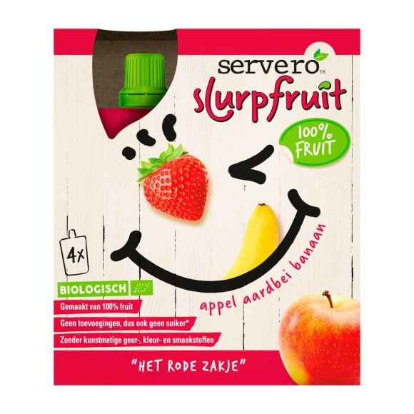 Servero Slurpfruit 100% fruit Het Rode Zakje Biologisch 4 stuks product photo