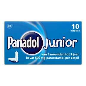 Panadol Junior Zetpillen 500 mg voor Kinderen vanaf 6 jaar, 10 stuks product photo