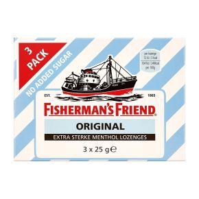 Fisherman's Friend original extra sterke menthol lozenges geen toegevoegde suikers 3-pack product photo