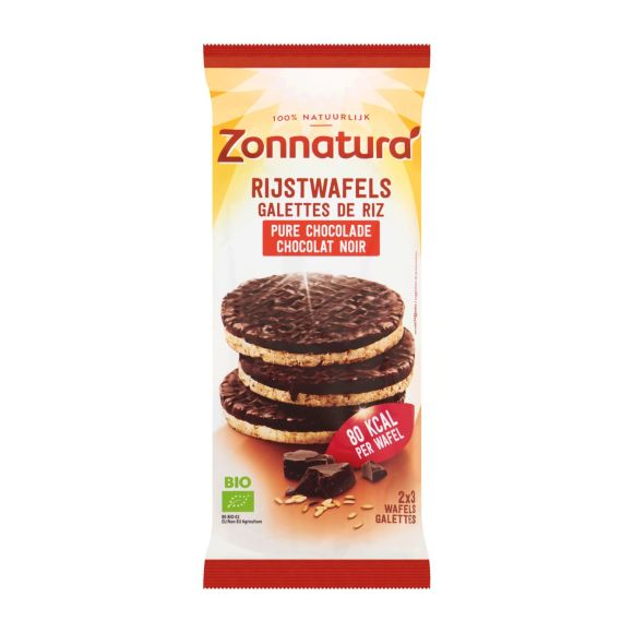 Zonnatura Rijstwafels Belgische pure chocolade biologisch product photo