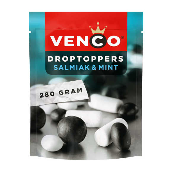 Venco Droptoppers salmiak en mint product photo