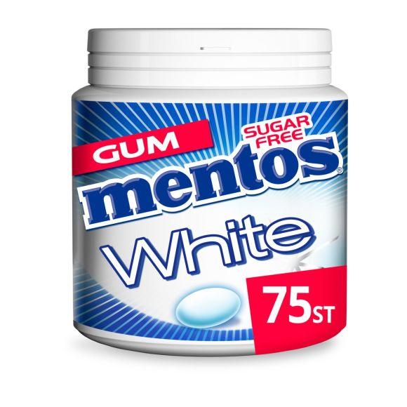 Mentos Gum white cool mint pot 75 stuks product photo