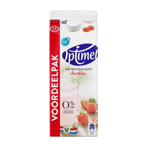 Optimel Drinkyoghurt Aardbei 0% Vet 1500 ml Pak product photo