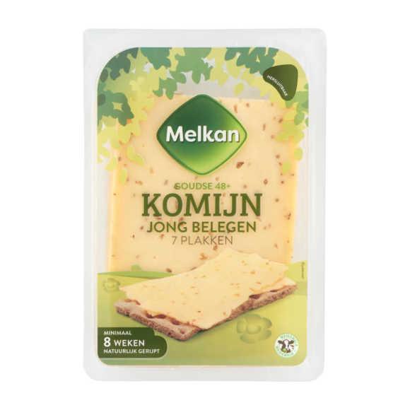 Melkan Goudse 48+ Komijn Jong Belegen Kaas 7 Plakken 190 g product photo