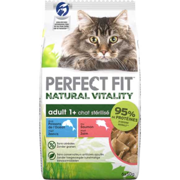 Perfect Fit Maaltijdzakjes - Zeevis & zalm - Natural Vitality kattenvoer 6 x 50 g product photo