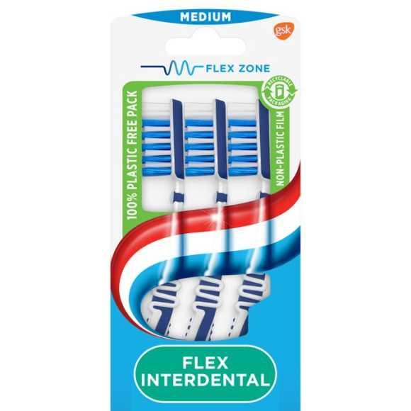 Aquafresh flex interdental medium dagelijkse tandenborstel 100% plasticvrije verpakking product photo