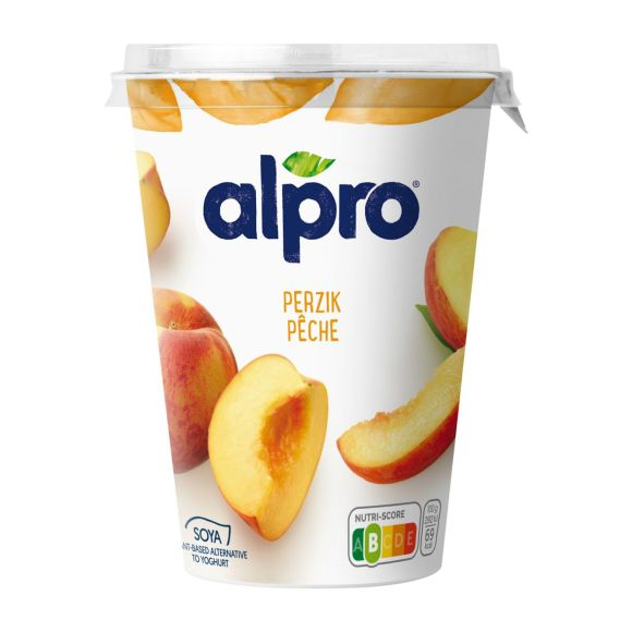 Alpro plantaardige variatie op yoghurt perzik product photo