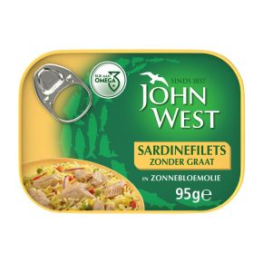 John West Sardinefilets zonder graat in zonnebloemolie product photo