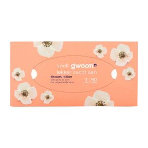 g'woon Tissues met lotion 90  stuks 3-laags product photo