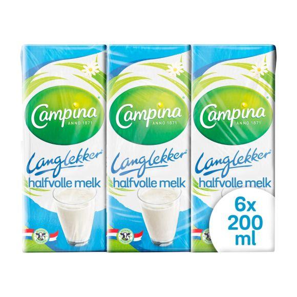 Campina Langlekker halfvolle melk pak 6 x 20 cl product photo
