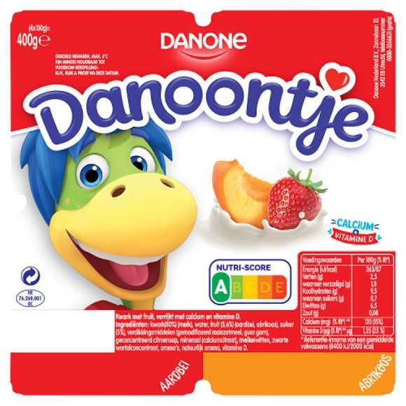 Danoontje Fruitkwark aardbei abrikoos product photo