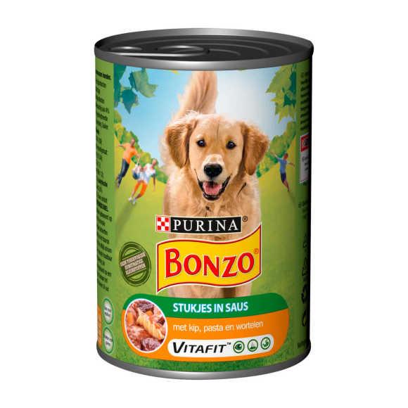 Bonzo blik natvoer Stukjes in Saus - Kip, Pasta & Wortelen - hondenvoer 400g product photo