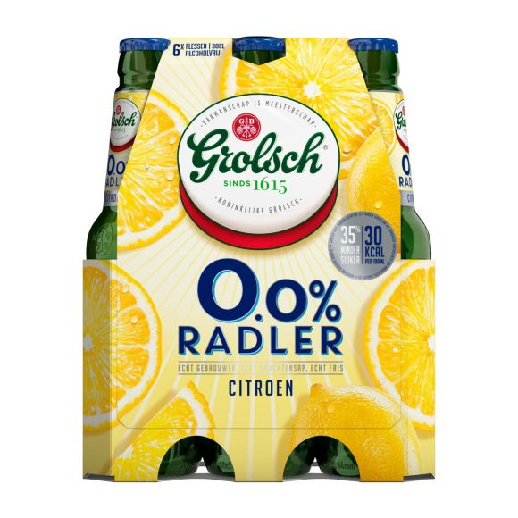 Grolsch Radler 0.0% citroen bier fles 6 x 30 cl product photo