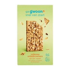 g'woon Ontbijtcrackers volkoren tarwe 6 x 3 stuks product photo