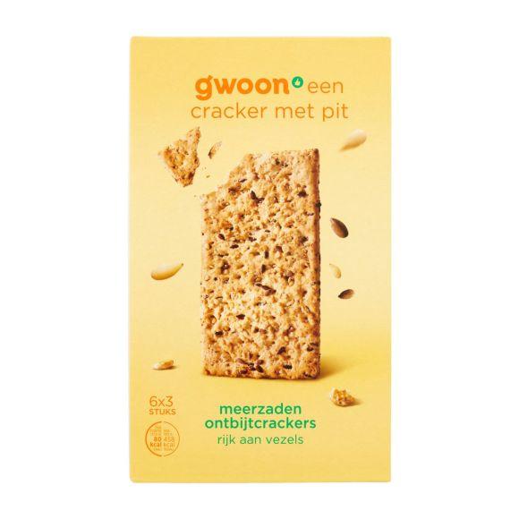 g'woon ontbijtcrackers zaden & pitten 6 x 3 stuks product photo