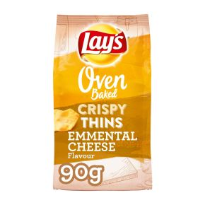 Lay's Oven baked crispy thins Emmenthaler cheese zoutjes product photo