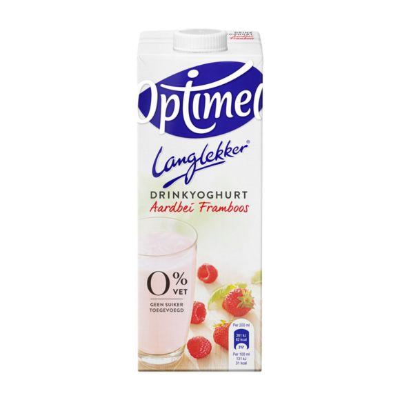 Optimel Langlekker drinkyoghurt aardbei framboos product photo